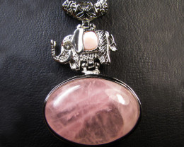 ROSE QUARTZ N ELEPHANT WITH  PEARL PENDANT RT 59