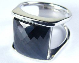 LARGE JET BLACK FACETED SPINEL SILVER RING SIZE 10.5 GTT1681