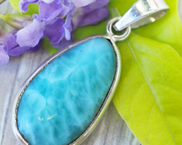 Beautiful natural Pendant , Larimar from Caribbean SU685