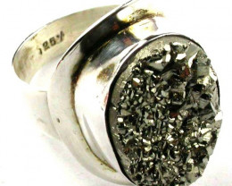 PYRITE STYLISH SILVER RING SIZE 8 1/2 GTJA424
