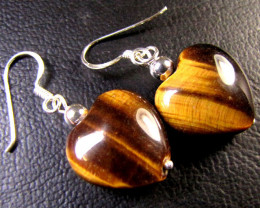 HEART SHAPE AUSSIE TIGER EYE SET IN SILVER EARRINGS RT83