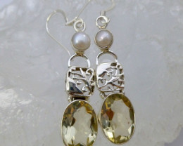 FRESH WATER PEARL AND CITRINE LONG EARRINGS SWING RT 955