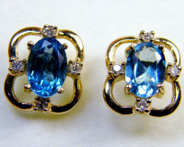 BLUE TOPAZ 14 K GENUINE DIAMONDS EAR MY 911