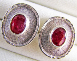 Gem Ruby set in Silver Earrings MJA 644