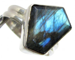 FreeformLabradorite in Silver ring size 11 MJA 526