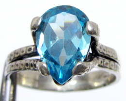 Blue Topaz set in silver ring sizer 10   MJA 539