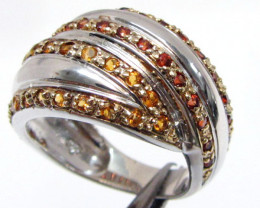 Bright Cluster dual Citrine set in silver ring size 7.5 MJA 792