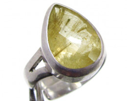Rutilated Quartz gemstone Ring adjustable size MJA 712
