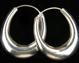 MODERN 32x28 MM LOOP STERLING SILVER EARRING MYT 526