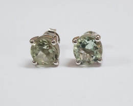 Green amethyst 925 Sterling silver earrings #7737