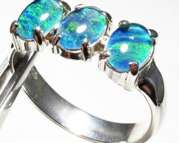 Triplet opal 3pc Cluster set in Silver Ring Size 8  PL 1239