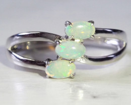 Cute Crystal Opal Set in Silver Ring WS598