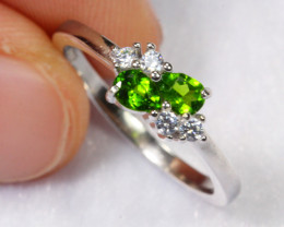 8.35cts Chrome Diopside 925 Sterling Silver Ring US5.25 /ZA51