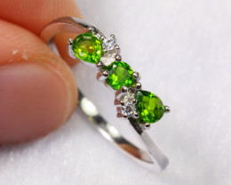 7.95cts Chrome Diopside 925 Sterling Silver Ring US7 /ZA53