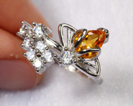 15.78cts Yellow Citrine 925 Sterling Silver Ring US6.5 /ZA58
