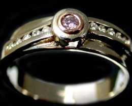 CERTIFIED AUST 0.07 PINKARGYLE  DIAMOND GOLD RING SIZE 6.5 OP34
