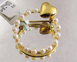 PEARL HEART BROOCH 18 K GOLD LGN 903