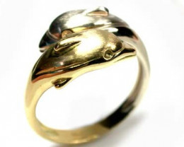 6.16 grams STYLISH 18K GOLD DOLPHIN RING 2 TONE SIZE 8 L423