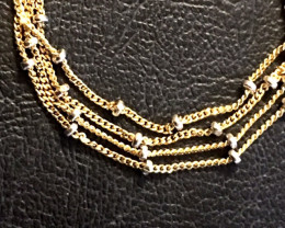 STUNNING 18 K GOLD CHAIN,2 TONE  BALL COLOURS L314