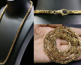 82 grams HEAVY 9 K  BYZANTINE GOLD CHAIN, 60 CM LONG L320