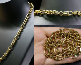 54.4 grams HEAVY 9 K FIGARO GOLD CHAIN, 45 CM LONG L341