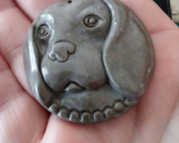 NATURAL HAND CARVED JASPER DOG PENDANT