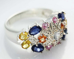 Silver Multi Stone  Gemstone Rings