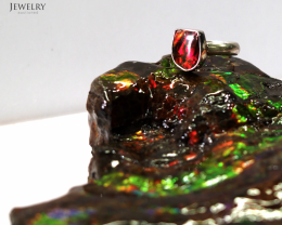8.5 RING SIZE BRIGHT CANADIAN AMMOLITE SILVER RING [SJ4189]