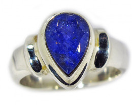 7.5 RING SIZE TANZANITE SILVER RING -FACETED [SJ2936]