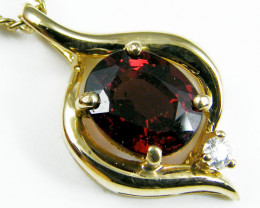 NATURAL GEM  GARNET 14K YELLOW GOLD PENDANT MYT 793