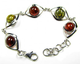 BALTIC AMBER DUAL COLORS  SILVER BRACLET LENGTH 19 CM MYG 541
