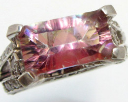 Mystic Quartz Pink Hues, set in Silver Ring size 9.5 MJA 806