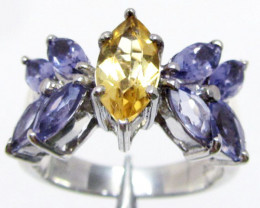 Beautiful Bright Citrine/Iolite set in silver ring size 8.5 MJA 786