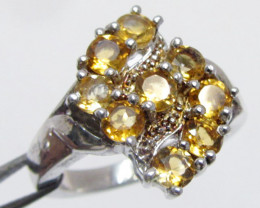 Bright Citrine set in silver ring size 7 MJA 795