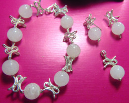 crafted rose QUARTZ beaded pure silver total 127.10cts