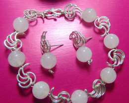crafted rose QUARTZ beaded pure silver total 124.90 cts