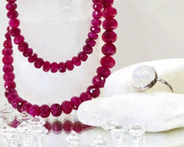 CERTIFIED  FACETED 8 MM RED RUBY NECKLACE  11 993