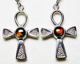 24.80 CTS AMMOLITE EARRINGS -SLIVER [SJ2533]