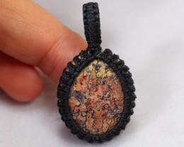 Handcrafted Macrame Pendant Cabochon Stone /ZA204