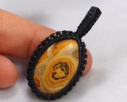 Handcrafted Macrame Pendant Cabochon Stone /ZA258
