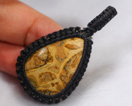 Handcrafted Macrame Pendant Cabochon Stone /ZA263