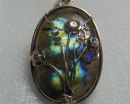 Labradorite  ~ pendent ~ nice  silvers 80.10cts