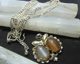Moonstone ~pair necklace  oval ~ silver  designs 116.25cts