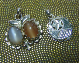 Moonstone ~pair necklace  oval ~ silver  designs 60.25cts