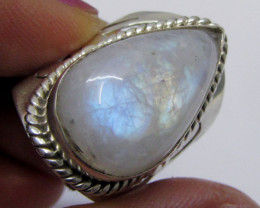 Pear Shape Moonstone Silver ring size 9.5 MJA 347