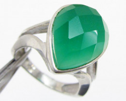 Green Faceted Onyx set in Silver ring size 9 MJA 701