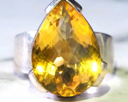 Large Clean faceted Citrine in Silver ring SIZE 6.5    GTJA 201