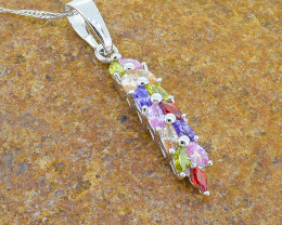18kGoldfilled Multi-colour stone Pendant