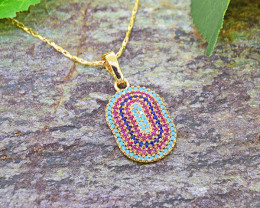 Multi-colour stone 18kt Goldfilled Pendant