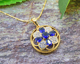 Blue Sapphire Simulant 18ktGoldfilled Pendant